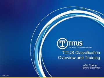 TITUS Classification Overview and Training - TITUS Partner Portal