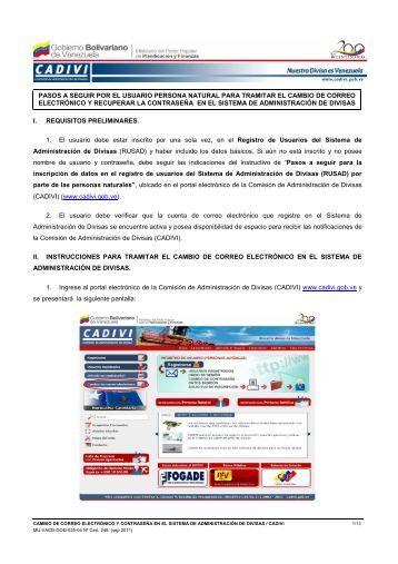 Cambio de Correo Electrónico - Cadivi