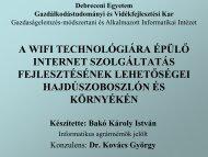 A WIFI technológiára épülő Internet szolgáltatás fejlesztésének ...