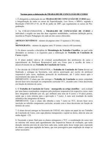 Normas para a elaboração do TRABALHO DE ... - Unisantos