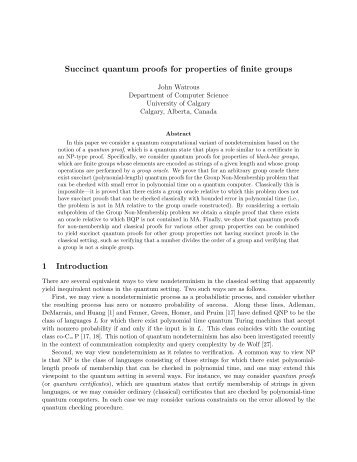 Succinct quantum proofs for properties of finite groups 1 Introduction