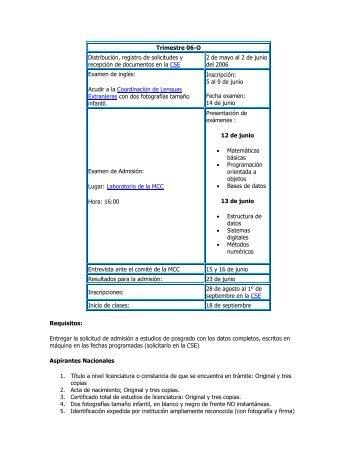 Trimestre 06-O Distribución, registro de solicitudes y ... - UAM