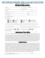 Sr. High Registration and Medical Liability Release Form.