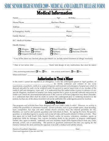 Medical Information Release Form Medical Information Release Form