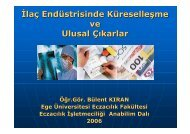 İlaç Endüstrisinde Küreselleşme ve Ulusal Çıkarlar - Ege Üniversitesi