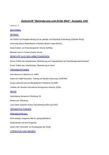 """Zeitschrift """"Behinderung und Dritte Welt"""", Ausgabe 3/93"""