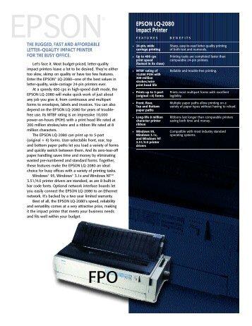 Epson LQ-2080 Impact Printer Drivers for Windows 10