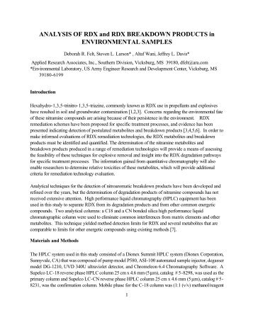 Analysis of RDX and RDX Breakdown Products in Environmental ...