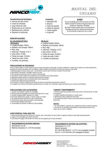 Descargar manual de usuario en PDF - Ninco