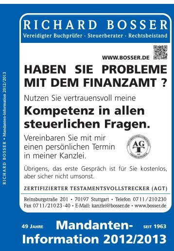 Mandanten-Information 2012/2013 - Richard Bosser