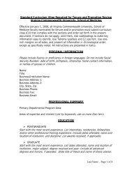 Curriculum Vitae - Virginia Commonwealth University School of ...