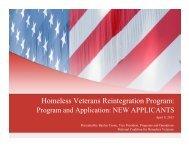HVRP application information - National Coalition for Homeless ...