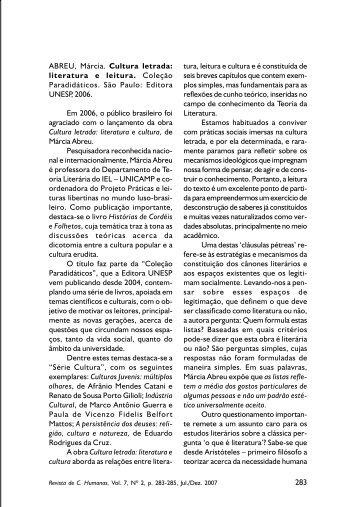 Cultura letrada: literatura e leitura - Centro de Ciências Humanas ...