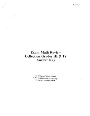 Exam Math Review Collection Grades III & IV Answer Key