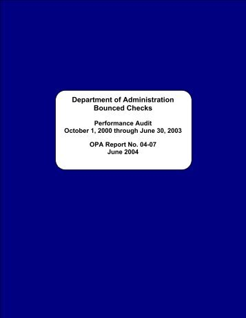 Department of Administration - The Office of Public Accountability
