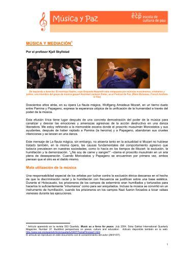 Música y mediación, Kjell Skyllstad - Escola de Cultura de Pau