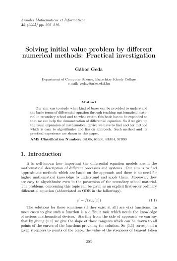 Solving initial value problem by different numerical methods ...