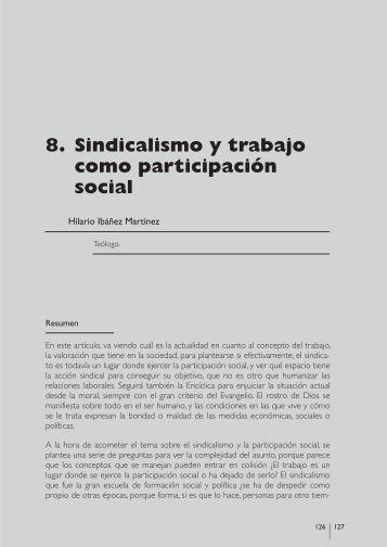 sindicalismo y trabajo como participación social - Cáritas Española