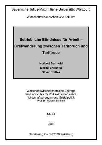 Betriebliche Bündnisse für Arbeit - Volkswirtschaftliches Institut ...