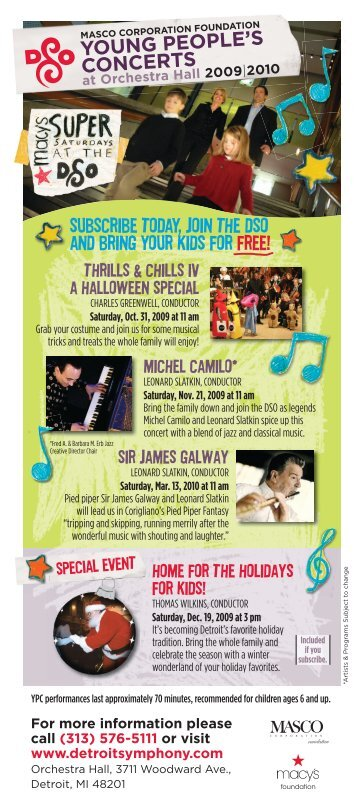 YOUNG PEOPLE'S CONCERTS - Detroit Symphony Orchestra