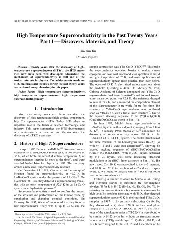 High Temperature Superconductivity in the Past Twenty Years Part 1 ...