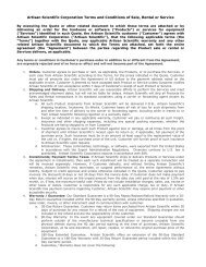 Artisan Scientific Corporation Terms and Conditions of Sale, Rental ...