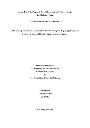 Untersuchung der Prävalenz und der klinischen Bedeutung von ...