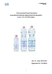 Environmental Product Declaration Acqua Minerale Naturale