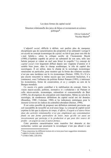 Les deux formes du capital social Structure relationnelle des jurys ...