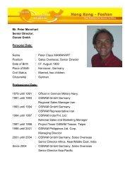 Mr. Peter Mannhart Senior Director, Osram Gmbh Personal Data ...