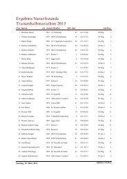 Ergebnis Naturfreunde Traisenhalbmarathon 2013