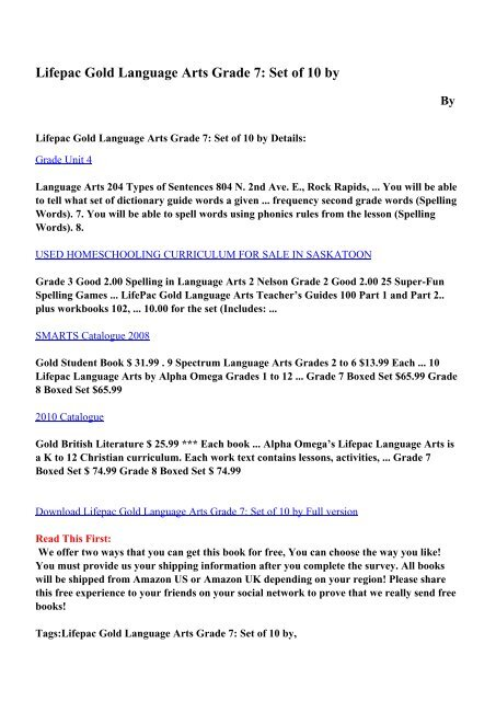 Download Lifepac Gold Language Arts Grade 7: Set of 10 by pdf