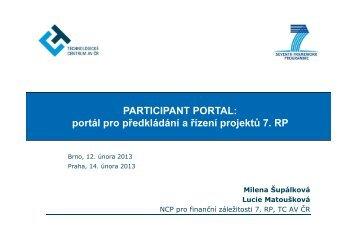 PARTICIPANT PORTAL: portál pro předkládání a řízení projektů 7. RP
