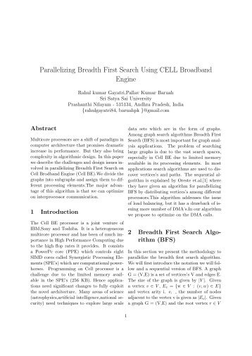 Parallelizing Breadth First Search Using CELL BE - HiPC