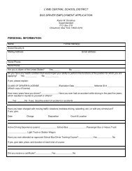 Application- Bus Driver - Lyme Central School