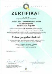 ZERTIFIKAT - Josef Keller Containerdienst GmbH