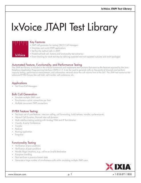 IxVoice JTAPI Test Library - Ixia