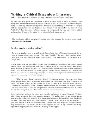 Writing A  The Critical Essay Literature And The Arts