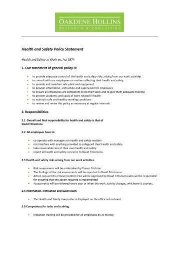 Health And Safety Policy Statement Of Andrews Fasteners Ltd