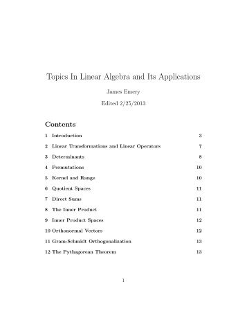 Topics In Linear Algebra and Its Applications - STEM2