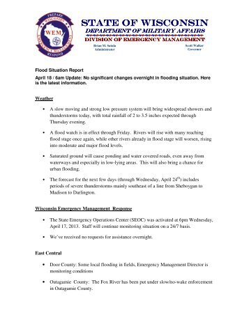 Incident Situation Report  Florida Division Of Emergency Management