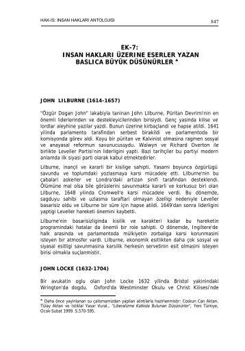 EK-7: INSAN HAKLARI ÜZERINE ESERLER YAZAN BASLICA ...