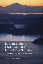 Maintaining Natural BC for Our Children: Selected Law Reform - The ...