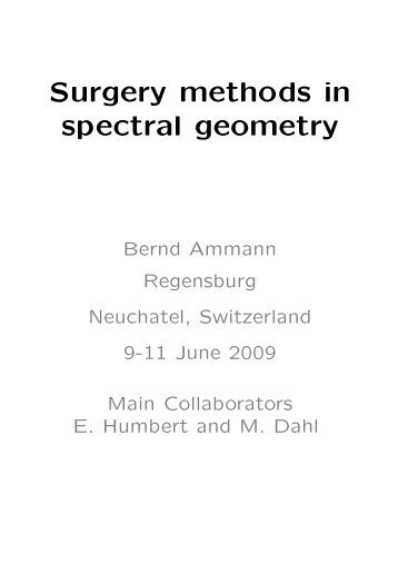 Surgery methods in spectral geometry - Mathematik