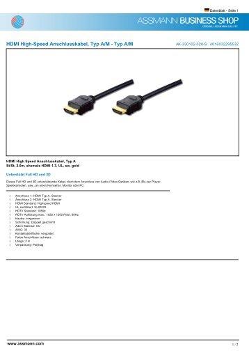 HDMI High-Speed Anschlusskabel, Typ A/M - Typ A/M