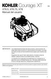 Manual del usuario XT6.5, XT6.75, XT8 - Kohler Engines