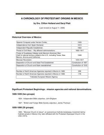 a chronology of protestant origins in mexico - Prolades.com