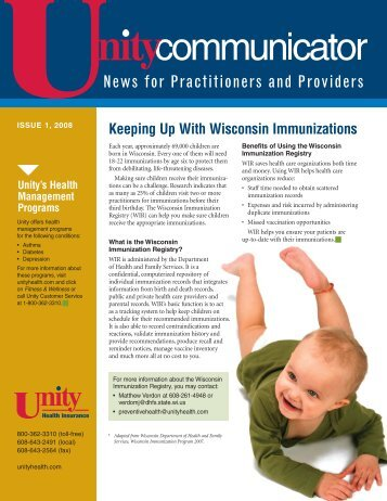Issue 1, 2008 - Unity Health Insurance