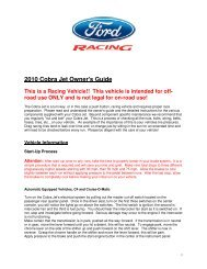 2010 Cobra Jet Owner's Guide - Ford Racing Parts