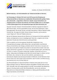 Medienmitteillung - Volkswirtschaft Berner Oberland